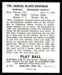 1940 Play Ball Reprint #194  Sam Chapman  Back Thumbnail