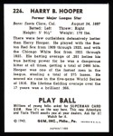 1940 Play Ball Reprint #226  Harry Hooper  Back Thumbnail