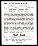 1940 Play Ball Reprint #144  Joe Vosmik  Back Thumbnail