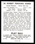 1940 Play Ball Reprint #38  Bobby Doerr  Back Thumbnail