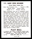 1940 Play Ball Reprint #171  Harry Hellmann  Back Thumbnail