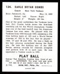 1940 Play Ball Reprint #124  Earle Combs  Back Thumbnail
