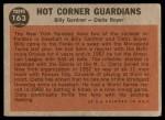 1962 Topps #163 GRN  -  Clete Boyer / Billy Gardner Hot Corner Guardians Back Thumbnail