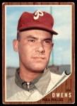 1962 Topps #212  Jim Owens  Front Thumbnail