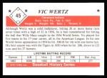 1979 TCMA The 1950's #45 COR Vic Wertz  Back Thumbnail