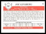 1979 TCMA The 1950's #52  Joe Ginsberg  Back Thumbnail