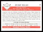 1979 TCMA The Stars of the 1950s #117  Duke Maas  Back Thumbnail