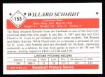 1979 TCMA The Stars of the 1950s #153  Willard Schmidt  Back Thumbnail