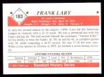 1979 TCMA The Stars of the 1950s #183  Frank Lary  Back Thumbnail