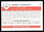 1979 TCMA The Stars of the 1950s #202  Bobby Thomson  Back Thumbnail