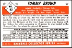 1953 Bowman REPRINT #42  Tom Brown  Back Thumbnail