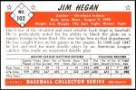1953 Bowman REPRINT #102  Jim Hegan  Back Thumbnail