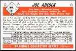 1953 Bowman REPRINT #151  Joe Adcock  Back Thumbnail