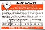 1953 Bowman REPRINT #1  Davey Williams  Back Thumbnail