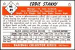 1953 Bowman REPRINT #49  Eddie Stanky  Back Thumbnail
