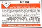 1953 Bowman REPRINT #53  Del Rice  Back Thumbnail