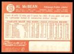 1964 Topps #525  Al McBean  Back Thumbnail