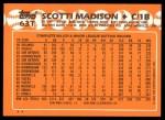 1988 Topps Traded #63 T Scotti Madison  Back Thumbnail