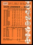 1988 Topps Traded #131 T Don Zimmer  Back Thumbnail