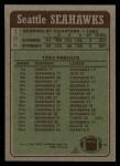 1984 Topps #188   -  Curt Warner / Steve Largent / Kenny Easley / Jacob Green / Bruce Scholtz Seahawks Leaders Back Thumbnail
