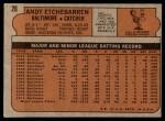 1972 Topps #26  Andy Etchebarren  Back Thumbnail