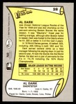 1988 Pacific Legends #28  Al Dark  Back Thumbnail