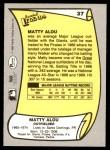1988 Pacific Legends #37  Matty Alou  Back Thumbnail