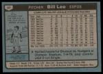1980 Topps #97  Bill Lee  Back Thumbnail