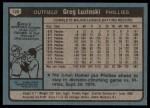 1980 Topps #120  Greg Luzinski  Back Thumbnail