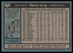 1980 Topps #139  Dane Iorg   Back Thumbnail