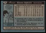 1980 Topps #166  Glenn Abbott  Back Thumbnail