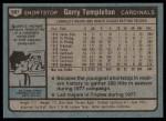 1980 Topps #587  Garry Templeton  Back Thumbnail