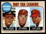 1968 Topps #7 A  -  Jim Bunning / Phil Niekro / Chris Short NL ERA Leaders Front Thumbnail