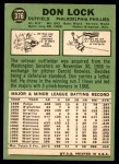 1967 Topps #376  Don Lock  Back Thumbnail