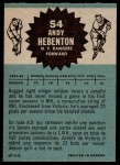 1962 Topps #54  Andy Hebenton  Back Thumbnail