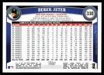 2011 Topps #330  Derek Jeter  Back Thumbnail