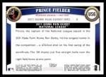 2011 Topps Update #6  Prince Fielder  Back Thumbnail