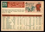1959 Topps #275  Jack Sanford  Back Thumbnail
