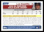 2004 Topps #708   -  Luis Castillo Golden Glove Back Thumbnail