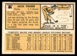1963 Topps #474  Jack Fisher  Back Thumbnail