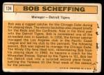 1963 Topps #134  Bob Scheffing  Back Thumbnail