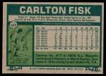 1977 Topps #640  Carlton Fisk  Back Thumbnail