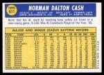 1970 Topps #611  Norm Cash  Back Thumbnail