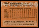 1988 Topps #689  Tom Pagnozzi  Back Thumbnail