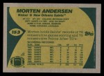1989 Topps #153  Morten Andersen  Back Thumbnail