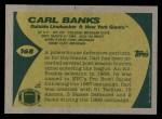 1989 Topps #168  Carl Banks  Back Thumbnail