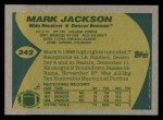 1989 Topps #242  Mark Jackson  Back Thumbnail