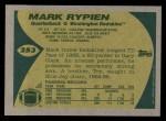 1989 Topps #253  Mark Rypien  Back Thumbnail