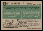 1958 Topps #5  Dollard St. Laurent  Back Thumbnail