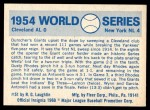 1970 Fleer World Series #51   -  Johnny Antonelli 1954 Giants vs. Indians   Back Thumbnail